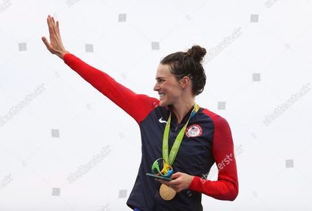 Gwen Jorgensen of the Usa Celebrates on the Podium After Winning the Gold Medal in the Women's Triathlon Race of the Rio 2016 Olympic Games at Fort Copacabana in Rio De Janeiro Brazil 20 August 2016 Brazil Rio De Janeiro