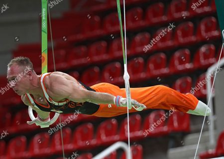 Artistic Gymnast Yuri Van Gelder of Netherlands Practice on the Rings During a Training Session For the Rio 2016 Olympic Games at the Rio Olympic Arena in Rio De Janeiro Brazil 03 August 2016 Brazil Rio De Janeiro