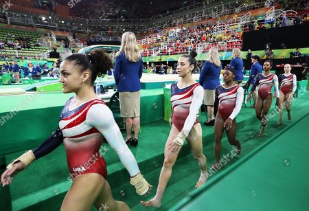 The Team Usa (from Left) Lauren Hernandez Alexandra Raisman Simone Biles Gabrielle Douglas and Madison Kocian Enter the Venue For the Women's Team Final of the Rio 2016 Olympic Games Artistic Gymnastics Events at the Rio Olympic Arena in Barra Da Tijuca Rio De Janeiro Brazil 09 August 2016 Brazil Rio De Janeiro