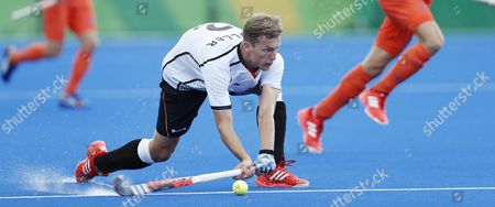 Germany's Matthias Muller Against the Netherlands During Their Rio 2016 Olympics Men's Field Hockey Match at the Olympic Hockey Centre in Rio De Janeiro Brazil 12 August 2016 Brazil Rio De Janeiro