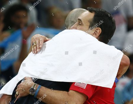 Argentina's Manu Ginobili (l) Hugs Usa's Coach Mike Krzyzewski After the Men's Basketball Quarter Final Match Between the Usa and Argentina of the Rio 2016 Olympic Games at the Carioca Arena 1 in the Olympic Park in Rio De Janeiro Brazil 17 August 2016 Brazil Rio De Janeiro