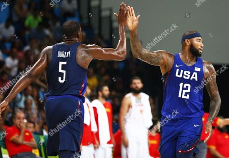 Us Players Kevin Durant (l) and Demarcus Cousins (r) React During the Men's Basketball Semi Final Game Between Spain and the Usa at the Rio 2016 Olympic Games at the Carioca Arena 1 in the Olympic Park in Rio De Janeiro Brazil 19 August 2016 Brazil Rio De Janeiro