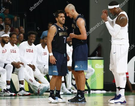 Facundo Campazzo (l) and Manu Ginobili of Argentina Talk During the Men's Basketball Quarter Final Match Between the Usa and Argentina of the Rio 2016 Olympic Games at the Carioca Arena 1 in the Olympic Park in Rio De Janeiro Brazil 17 August 2016 Brazil Rio De Janeiro