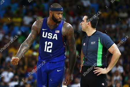 Demarcus Cousins (l) of the Usa Argues with the Referee During the Men's Basketball Semi Final Game Between Spain and the Usa at the Rio 2016 Olympic Games at the Carioca Arena 1 in the Olympic Park in Rio De Janeiro Brazil 19 August 2016 Brazil Rio De Janeiro
