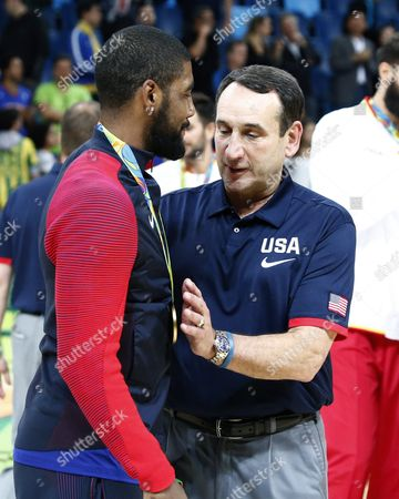 Gold Medalist Demarcus Cousins of the Usa (l) with Usa Coach Mike Krzyzewski (r) After the Awards Ceremony in the Men's Basketball Game of the Rio 2016 Olympic Games at the Carioca Arena 1 in the Olympic Park in Rio De Janeiro Brazil 21 August 2016 Brazil Rio De Janeiro