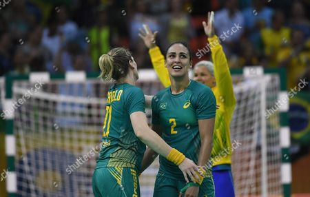 Deonise Fachinello (l) Fabiana Diniz (c) and Goalkeeper Mayssa Raquel Pessoa (r) Celebrate After Their Match During the Women's Preliminary Round Handball Game Between Brazil and Romania of the Rio 2016 Olympic Games at the Future Arena in the Olympic Park in Rio De Janeiro Brazil 08 August 2016 Brazil Rio De Janeiro