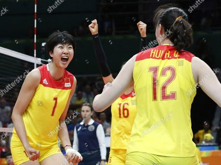China's Xinyue Yuan (l) and Ruoqi Hui (r) React During the Women's Volleyball Gold Medal Match Between China and Serbia of the Rio 2016 Olympic Games at Maracanazinho Indoor Arena in Rio De Janeiro Brazil 20 August 2016 Brazil Rio De Janeiro