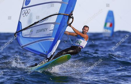 Nick Dempsey of Britain Sails During the Men's Rs:x Class Race of the Rio 2016 Olympic Games Sailing Events in Rio De Janeiro Brazil 12 August 2016 Brazil Rio De Janeiro