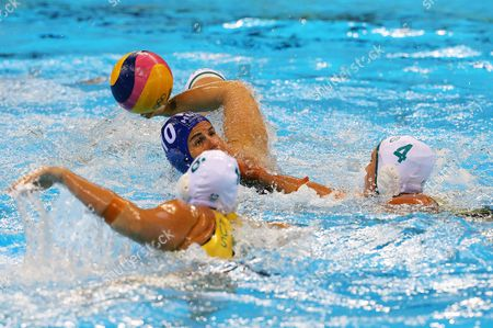 Bronwen Knox (l) and Holly Lincoln-smith of Australia (r) and Barbara Bujka of Hungary (c) in Action During the Women's Water Polo Quarterfinal Match of the Rio 2016 Olympic Games Between Australia and Hungary at the Olympic Aquatics Stadium in the Olympic Park in Rio De Janeiro Brazil 15 August 2016 Brazil Rio De Janeiro
