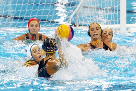 Rowie Webster (l) of Australia in Action Against Beatriz Ortiz Munoz (c) of Spain During Women's Classification 5th-6th Place Match of the Rio 2016 Olympic Games at the Olympic Aquatics Stadium in the Olympic Park in Rio De Janeiro Brazil 19 August 2016 Brazil Rio De Janeiro