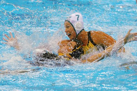 Rowie Webster (r) of Australia in Action Against Paula Leiton Arrones (l) of Spain During Women's Classification 5th-6th Place Match of the Rio 2016 Olympic Games at the Olympic Aquatics Stadium in the Olympic Park in Rio De Janeiro Brazil 19 August 2016 Brazil Rio De Janeiro