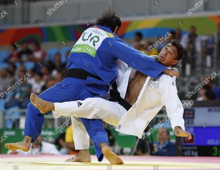 Ashley Mckenzie of Great Britain (r) and Bekir Ozlu of Turkey (l) in Action in the Men's 60kg Bout of the Rio 2016 Olympic Games Judo Events at the Carioca Arena 2 in the Olympic Park in Rio De Janeiro Brazil 06 August 2016 Brazil Rio De Janeiro