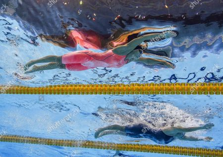 Yulia Efimova of Russia (l) and Ruta Meilutyte of Lithuania Compete During the Women's 100m Breaststroke Semifinal 1 Race of the Rio 2016 Olympic Games Swimming Events at Olympic Aquatics Stadium at the Olympic Park in Rio De Janeiro Brazil 07 August 2016 Brazil Rio De Janeiro