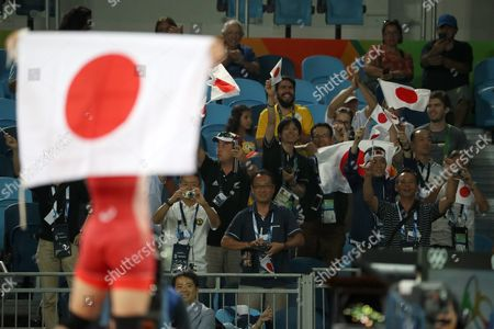 Japan Supporters Cheer After Eri Tosaka (l) of Japan Won the Gold Medal After Defeating Mariya Stadnik of Azerbaijan During the Women's Freestyle 48kg Gold Medal Game of the Rio 2016 Olympic Games Wrestling Events at the Carioca Arena 2 in the Olympic Park in Rio De Janeiro Brazil 17 August 2016 Brazil Rio De Janeiro