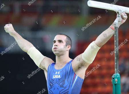 Danell Leyva of the Usa Reacts After Performing During the Men's Parallel Bars Final For the Rio 2016 Olympic Games Artistic Gymnastics Events at the Rio Olympic Arena in Barra Da Tijuca Rio De Janeiro Brazil 16 August 2016 Brazil Rio De Janeiro