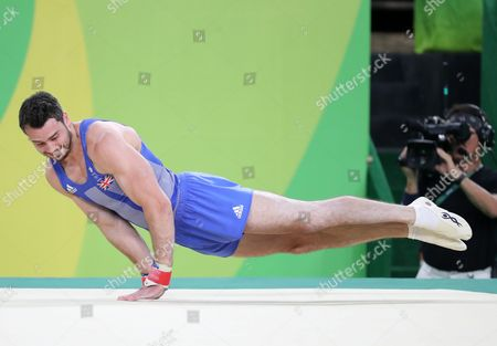Kristian Thomas of Great Britain Performs in Action During the Men's Floor Exercise Final Competition of the Rio 2016 Olympic Games Artistic Gymnastics Events at the Rio Olympic Arena in Barra Da Tijuca Rio De Janeiro Brazil 14 August 2016 Brazil Rio De Janeiro