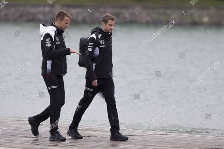 Stock Image of British Formula One Driver Jenson Button of Mclaren-honda (l) and His Physio Michael Collier (r) at the Gilles Villeneuve Circuit in Montreal Canada 09 June 2016 the 2016 Formula One Grand Prix of Canada Will Take Place on 12 June Canada Montreal