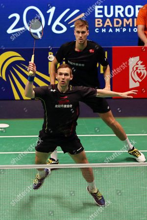 Mads Conrad-petersen and Mads Pieler Kolding of Denmark in Action Against Marcus Ellis and Chris Langridge of England During Their Men's Doubles Final at the Badminton European Championships in La Roche Sur Yon France 30 April 2016 the Danish Pair Won the Final France La Roche Sur Yon