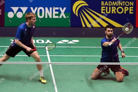 Marcus Ellis and Chris Langridge of England in Action Against Mads Conrad Petersen and Mads Pieler Kolding of Denmark During Their Men's Doubles Semi Final at the Badminton European Championships in La Roche Sur Yon France 30 April 2016 France La Roche Sur Yon