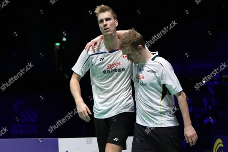 Mads Conrad-petersen and Mads Pieler Kolding of Denmark Celebrate After Their Victory in the Men Double Final Match Against Kim Astrup and Anders Skaarup Rasmussen of Denmark at the Badminton European Championships in La Roche Sur Yon France 1 May 2016 France La Roche Sur Yon