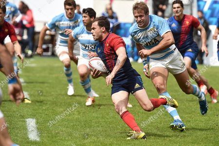 France's Terry Bouhraoua (c) in Action During the World Rugby Sevens Series Match Between France and Argentina in Paris France 14 May 2016 France Paris