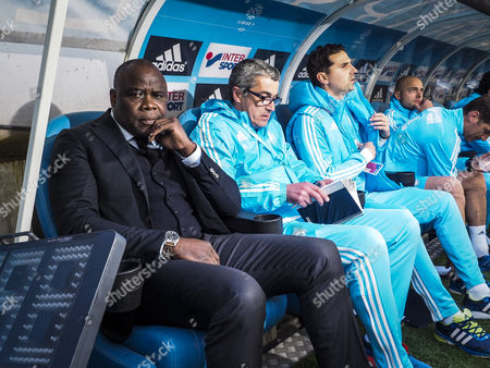 Former French Soccer Player Basile Boli Before the French Ligue 1 Soccer Match Between Om and Nantes at the Velodrome Stadium in Marseille France 24 April 2016 France Marseille