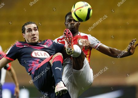 Stock Photo of Uwa Echiejile Elderson of As Monaco (r) Vies For the Ball with Enzo Crivelli of Fc Girondins Bordeaux (l) During the French Ligue 1 Soccer Match As Monaco Vs Fc Girondins Bordeaux at Stade Louis Ii in Monaco 01 April 2016 Monaco Monaco
