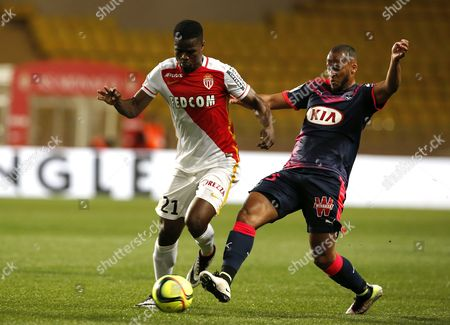 Stock Picture of Uwa Echiejile Elderson of As Monaco (l) Vies For the Ball with Thomas Toure of Fc Girondins Bordeaux (r) During the French Ligue 1 Soccer Match As Monaco Vs Fc Girondins Bordeaux at Stade Louis Ii in Monaco 01 April 2016 Monaco Monaco