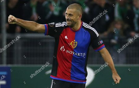 Fc Basel's Defender Walter Adrian Samuel Celebrates After Scoring a Goal During the Uefa Europa League Round of 32 Match Between As St-etienne and Fc Basel at the Stade Geoffroy-guichard in Saint-etienne France 18 February 2016 France Saint-etienne