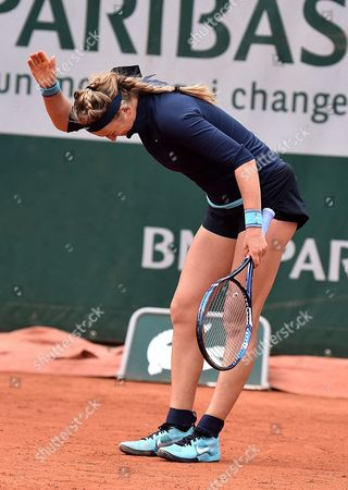 Victoria Azarenka of Belarus Reacts As She Plays Karin Knapp of Italy During Their Women's Single First Round Match at the French Open Tennis Tournament at Roland Garros in Paris France 24 May 2016 France Paris