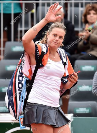 Karin Knapp of Italy Waves to the Crowd After Victoria Azarenka of Belarus was Dropping out Due to an Injury in Their Women's Single First Round Match at the French Open Tennis Tournament at Roland Garros in Paris France 24 May 2016 France Paris