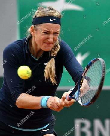 Victoria Azarenka of Belarus in Action Against Karin Knapp of Italy During Their Women's Single First Round Match at the French Open Tennis Tournament at Roland Garros in Paris France 24 May 2016 France Paris