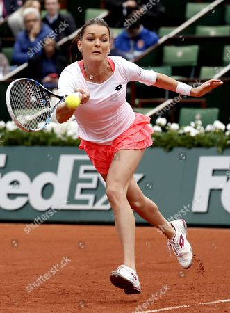 Agnieszka Radwanska of Poland in Action Against Bojana Jovanovski of Serbia During Their Women's Single First Round Match at the French Open Tennis Tournament at Roland Garros in Paris France 23 May 2016 France Paris
