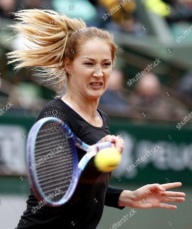 Bojana Jovanovski of Serbia in Action Against Agnieszka Radwanska of Poland During Their Women's Single First Round Match at the French Open Tennis Tournament at Roland Garros in Paris France 23 May 2016 France Paris