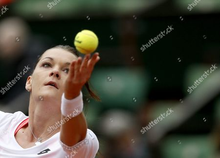 Stock Photo of Agnieszka Radwanska of Poland in Action Against Bojana Jovanovski of Serbia During Their Women's Single First Round Match at the French Open Tennis Tournament at Roland Garros in Paris France 23 May 2016 France Paris
