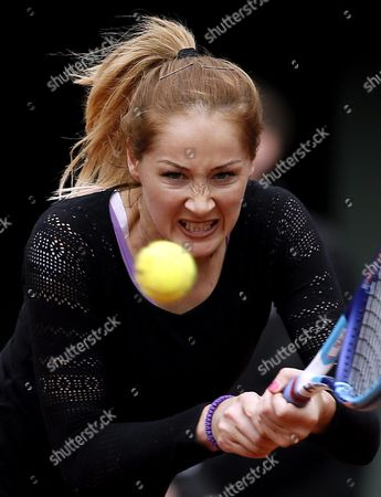 Stock Picture of Bojana Jovanovski of Serbia in Action Against Agnieszka Radwanska of Poland During Their Women's Single First Round Match at the French Open Tennis Tournament at Roland Garros in Paris France 23 May 2016 France Paris