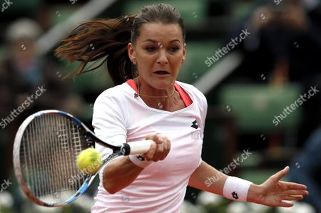 Stock Image of Agnieszka Radwanska of Poland in Action Against Bojana Jovanovski of Serbia During Their Women's Single First Round Match at the French Open Tennis Tournament at Roland Garros in Paris France 23 May 2016 France Paris