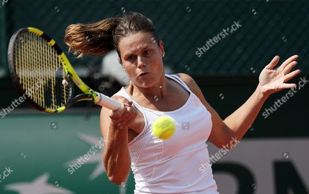 Karin Knapp of Italy in Action Against Yulia Putintseva of Kazakhstan During Their Women's Single Third Round Match at the French Open Tennis Tournament at Roland Garros in Paris France 28 May 2016 France Paris