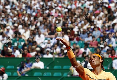 Rafael Nadal of Spain Serves the Ball to Alijaz Bedene of Great Britain During Their Second Round Match at the Monte-carlo Rolex Masters Tennis Tournament in Roquebrune Cap Martin France 13 April 2016 France Roquebrune Cap Martin
