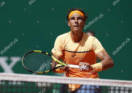 Rafael Nadal of Spain in Action Against Alijaz Bedene of Great Britain During Their Second Round Match at the Monte-carlo Rolex Masters Tennis Tournament in Roquebrune Cap Martin France 13 April 2016 France Roquebrune Cap Martin