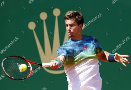 Alijaz Bedene of Great Britain Returns the Ball to Rafael Nadal of Spain During Their Second Round Match at the Monte-carlo Rolex Masters Tennis Tournament in Roquebrune Cap Martin France 13 April 2016 France Roquebrune Cap Martin