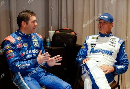 Elliott Sadler, Michael Waltrip Elliott Sadler, left, and Michael Waltrip talk while waiting to be interviewed at NASCAR Daytona 500 media day at Daytona International Speedway, in Daytona Beach, Fla