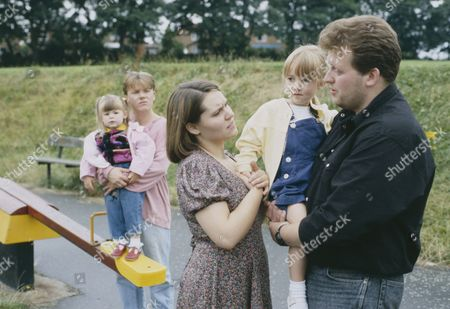 Cy Chadwick (as Nick Bates), Ruth Whitehead (as Julie Bramhope) and Graham Wicinskj (as Barry Bramhope) as Nick and Julie are disturbed by the arrival of Julie's ex-husband who is demanding to see his daughter (Ep 1800 - 16th September 1993)