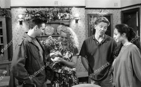Matthew Vaughan (as Michael Feldmann) and Glenda McKay (as Rachel Hughes), Craig McKay (as Mark Hughes) and Nicola Strong (as Lorraine Nelson) (Ep 1800 - 16th September 1993)