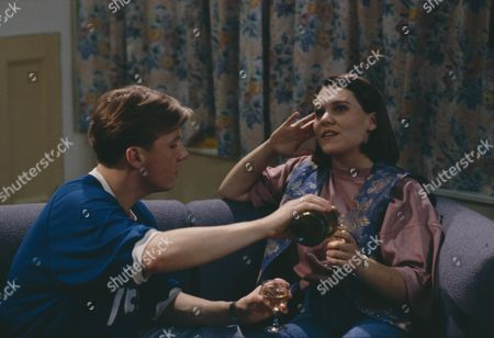 Cy Chadwick (as Nick Bates) and Ruth Whitehead (as Julie Bramhope) as Nick and Julie flirt together (Ep 1800 - 16th September 1993)