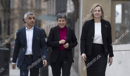 The New Metropolitan Police Commissioner Cressida Dick (C) with London Mayor Sadie Khan (L) and Home Secretary Amber Rudd (R) talk to the media outside New Scotland Yard in London, Britain, 22 February 2017. Dick takes over from Sir Bernard Hogan-Howe and will be the first female commissioner in the history of the Metropolitan Police.