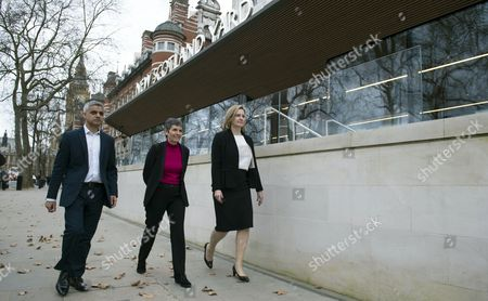 The New Metropolitan Police Commissioner Cressida Dick (C) with London Mayor Sadie Khan (L) and Home Secretary Amber Rudd (R) walk to a photocall outside New Scotland Yard in London, Britain, 22 February 2017. Dick takes over from Sir Bernard Hogan-Howe and will be the first female commissioner in the history of the Metropolitan Police.