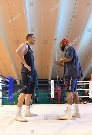 Stock Photo of Ukrainian Boxer Vladimir Klitschko (l) and His Coach Johnathon Banks at a Training Camp in the Indoor Tennis Centre of the Hotel Stanglwirt in Going in Austria 23 June 2016 Ibf Ibo and Wbo World Boxing Champion Klitschko Will Compete Against British Tyson Fury on 09 July 2016 Austria Going