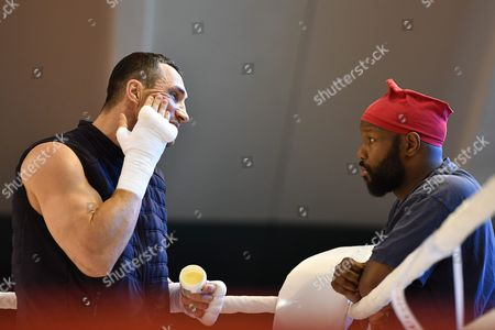 Stock Picture of Ukrainian Boxer Vladimir Klitschko (l) and His Coach Johnathon Banks at a Training Camp in the Indoor Tennis Centre of the Hotel Stanglwirt in Going in Austria 23 June 2016 Ibf Ibo and Wbo World Boxing Champion Klitschko Will Compete Against British Tyson Fury on 09 July 2016 Austria Going