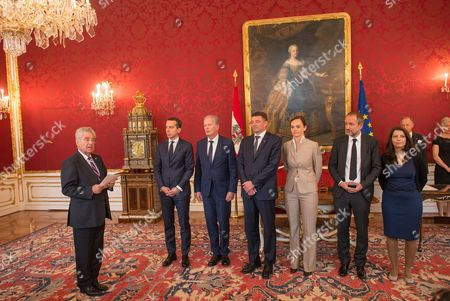 (l-r) Austrian President Heinz Fischer Chancellor Christian Kern Vice Chancellor Reinhold Mitterlehner Minister For Transport Innovation and Technology Joerg Leichtfried Minister For Education and Former Rector of Vienna's University of Veterinary Medicine Sonja Hammerschmid Minister of Culture and Former Ceo of Vereinigte Buehnen Wien Thomas Drozda and Secretary of State and First Member of Austrian Government with Migration Background Muna Duzdar During the Inauguration at the Presidential Office in Vienna Austria on 18 May 2016 Austria Vienna